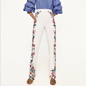 Zara Cream Pants with floral detail